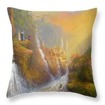 Rivendell Wisdom Of The Elves. Throw Pillow by Joe  Gilronan