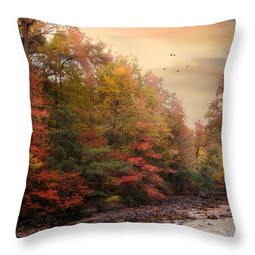 Riverbank Beauty Throw Pillow by Jessica Jenney
