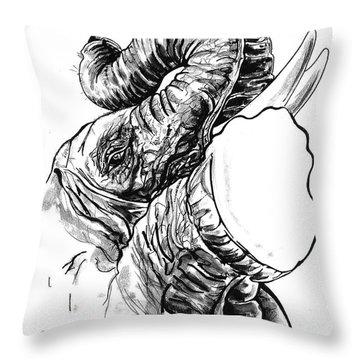 Roaring Elephant Throw Pillow by John Keaton