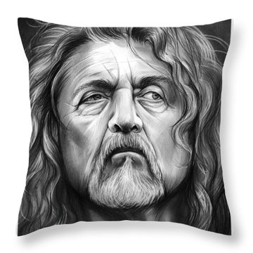 Robert Plant Throw Pillow by Greg Joens