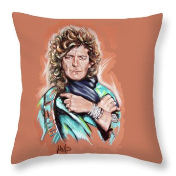 Robert Plant Throw Pillow by Melanie D