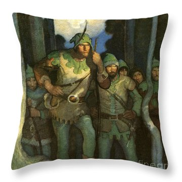 Robin Hood And His Merry Men Throw Pillow by Newell Convers Wyeth
