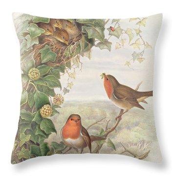 Robin Throw Pillow by John Gould