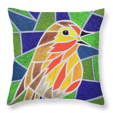 Robin On Stained Glass Throw Pillow by Pat Scott
