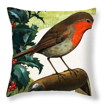 Robin Redbreast Throw Pillow by English School