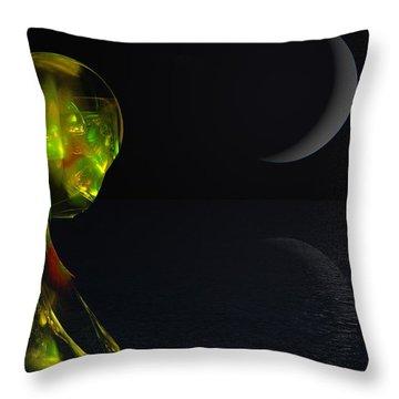 Robot Moonlight Serenade Throw Pillow by David Lane