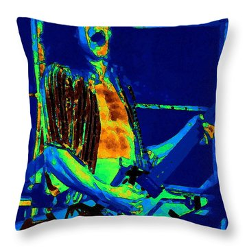Rock 'n' Roll The Cosmic Blues Throw Pillow by Ben Upham