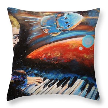 Rocket Man Throw Pillow by Shannon Lee