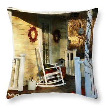 Rocking Chair On Side Porch Throw Pillow by Susan Savad