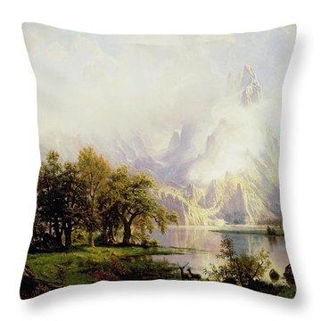 Rocky Mountain Landscape Throw Pillow by Albert Bierstadt