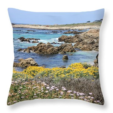 Rocky Surf With Wildflowers Throw Pillow by Carol Groenen