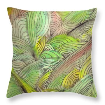 Rolling Patterns In Greens Throw Pillow by Wayne Potrafka
