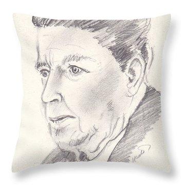 Ronald Reagan Throw Pillow by John Keaton