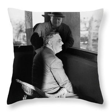 Roosevelt And Churchill Throw Pillow by Granger