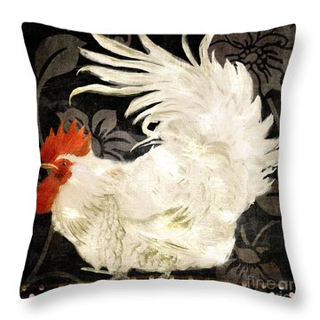 Rooster Damask Dark Throw Pillow by Mindy Sommers
