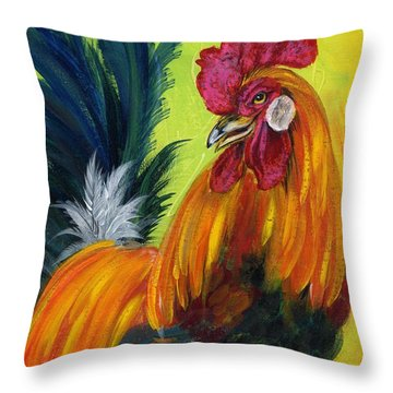 Rooster Kary Throw Pillow by Summer Celeste