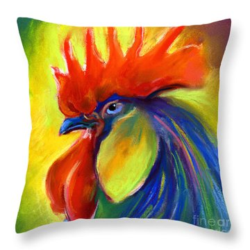 Rooster Painting Throw Pillow by Svetlana Novikova
