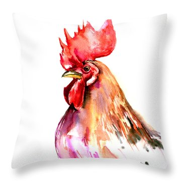Rooster Portrait Throw Pillow by Suren Nersisyan
