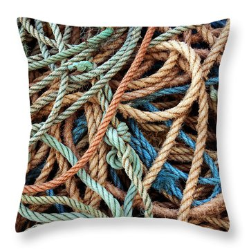 Rope Background Throw Pillow by Carlos Caetano