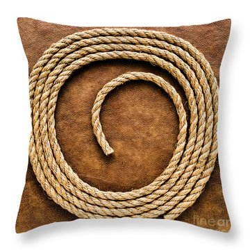 Rope On Leather Throw Pillow by Olivier Le Queinec
