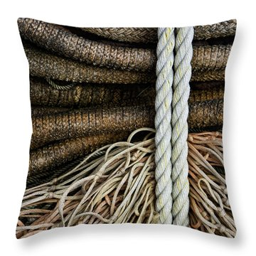 Ropes And Fishing Nets Throw Pillow by Carol Leigh