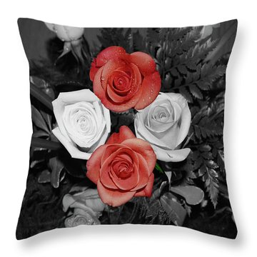 Rose Bouquet Throw Pillow by DigiArt Diaries by Vicky B Fuller