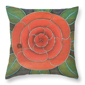 Rose On Wood Throw Pillow by Michele Bullock