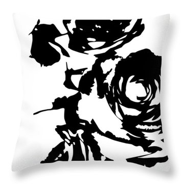 Rose Outline Throw Pillow by Cortney Herron