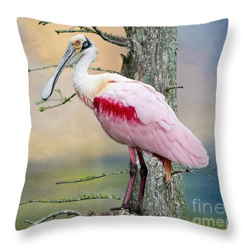 Roseate Spoonbill In Treetop Throw Pillow by Bonnie Barry