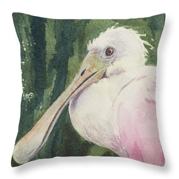 Roseate Spoonbill Throw Pillow by Kris Parins