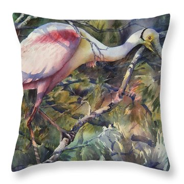 Roseate Spoonbill Throw Pillow by Sue Zimmermann