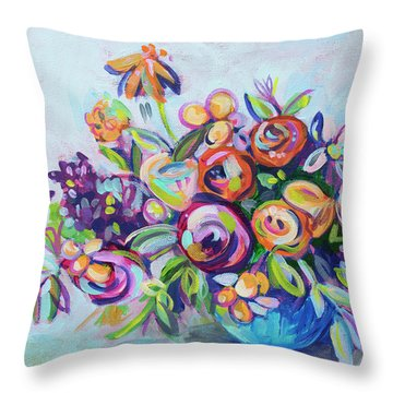 Roses And Kumquats Throw Pillow by Kristin Whitney