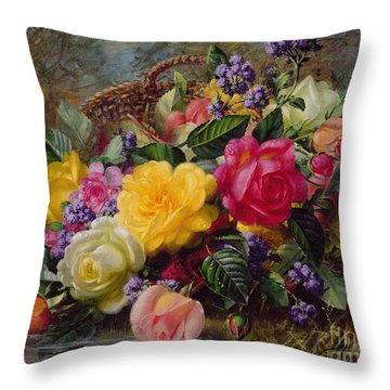 Roses By A Pond On A Grassy Bank  Throw Pillow by Albert Williams