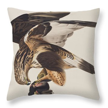 Rough Legged Falcon Throw Pillow by John James Audubon