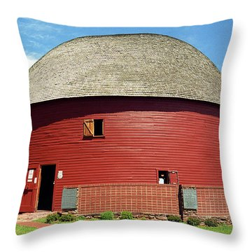 Route 66 - Round Barn Throw Pillow by Frank Romeo