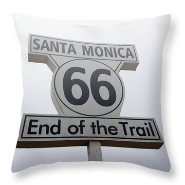 Route 66 Santa Monica- By Linda Woods Throw Pillow by Linda Woods