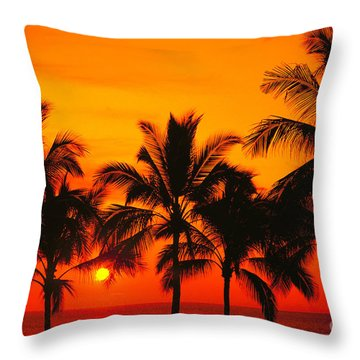 Row Of Palms Throw Pillow by Bill Schildge - Printscapes