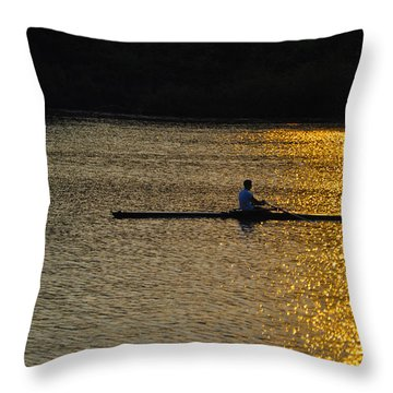 Rowing At Sunset Throw Pillow by Bill Cannon