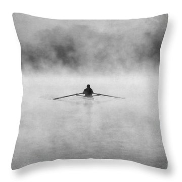 Rowing On The Chattahoochee Throw Pillow by Darren Fisher