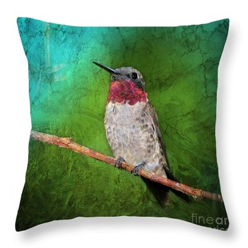 Ruby Throated Hummingbird Throw Pillow by Betty LaRue