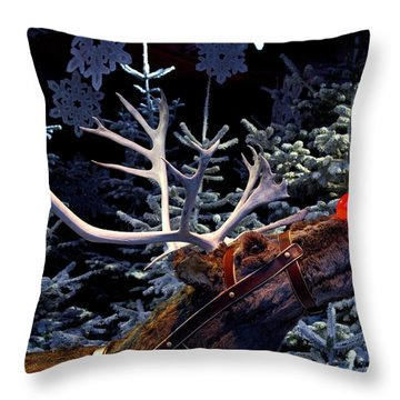 Rudolph With Your Nose So Bright Throw Pillow by Keenpress