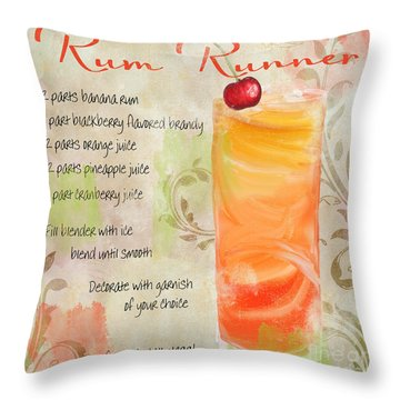 Rum Runner Mixed Cocktail Recipe Sign Throw Pillow by Mindy Sommers