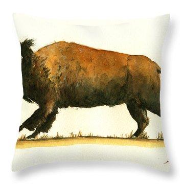Running American Buffalo Throw Pillow by Juan  Bosco