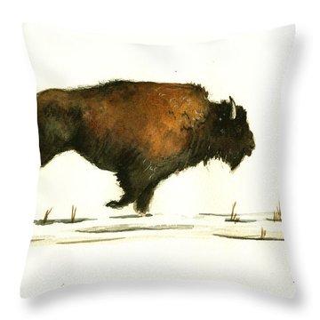 Running Buffalo Throw Pillow by Juan  Bosco