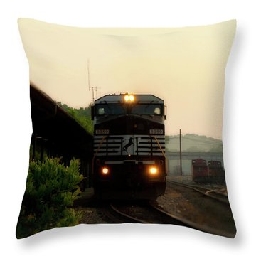 Running On Schedule Throw Pillow by Denise Beverly