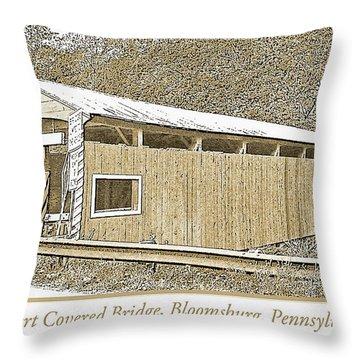 Throw Pillow featuring the digital art Rupert Covered Bridge Bloomburg Pennsylvania by A Gurmankin