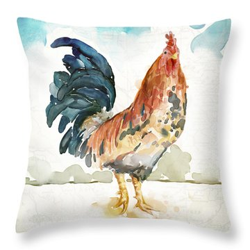 Rust Rooster Throw Pillow by Mauro DeVereaux