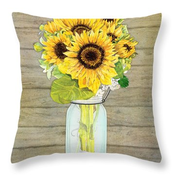 Rustic Country Sunflowers In Mason Jar Throw Pillow by Audrey Jeanne Roberts