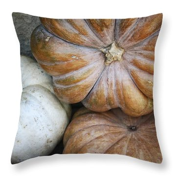 Rustic Pumpkins Throw Pillow by Joan Carroll