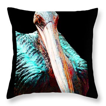 Rusty - Pelican Art Painting By Sharon Cummings Throw Pillow by Sharon Cummings